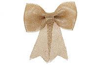 Новогодний декор Бант из мешковины 17см, цвет - золото