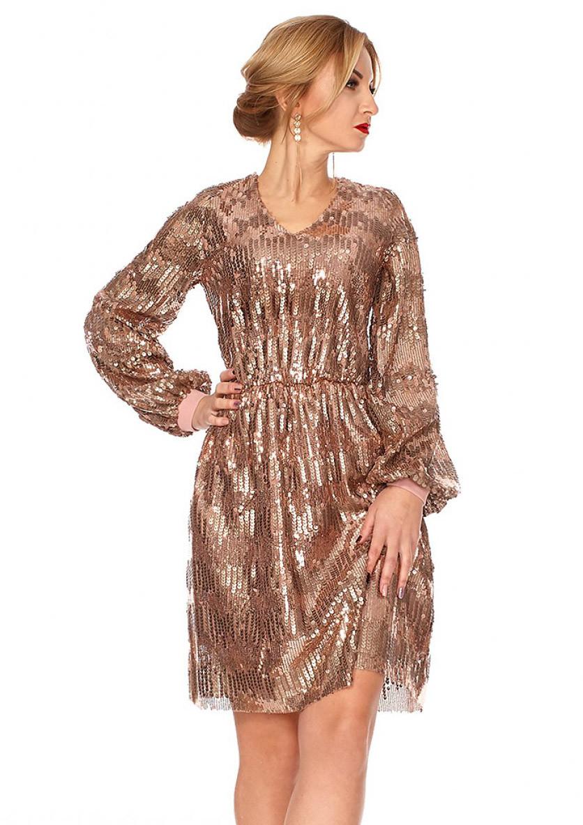 Вечернее платье с пайетками бежевого цвета. Модель 1117. Размеры 42-48