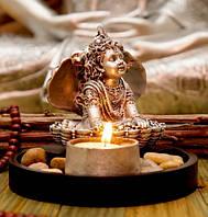 9260029 Кришна в раковине + подсвечник в серебряном цвете