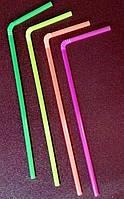 Трубочка пластиковая с изгибом разных цветов L 210 мм (уп 100 шт)