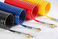 """Трубка полиуретановая спиральная PU 98 MB-Loglife Ø 8x12 мм, 10 м, синяя, с фитингами 1/4"""", наружная резьба"""