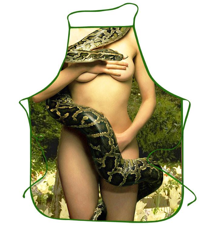 Прикольные фартуки Ева  и змей искуситель