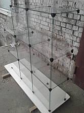 Стекляный прилавок-куб 3,35 бу. витрина стеклянная б/у.