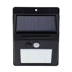 Светильник RavTech SH 609-20 с датчиком движения и солнечной панелью 20 smd настенный уличный Black
