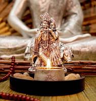 9260021 Радха Кришна + подсвечник в серебряном цвете
