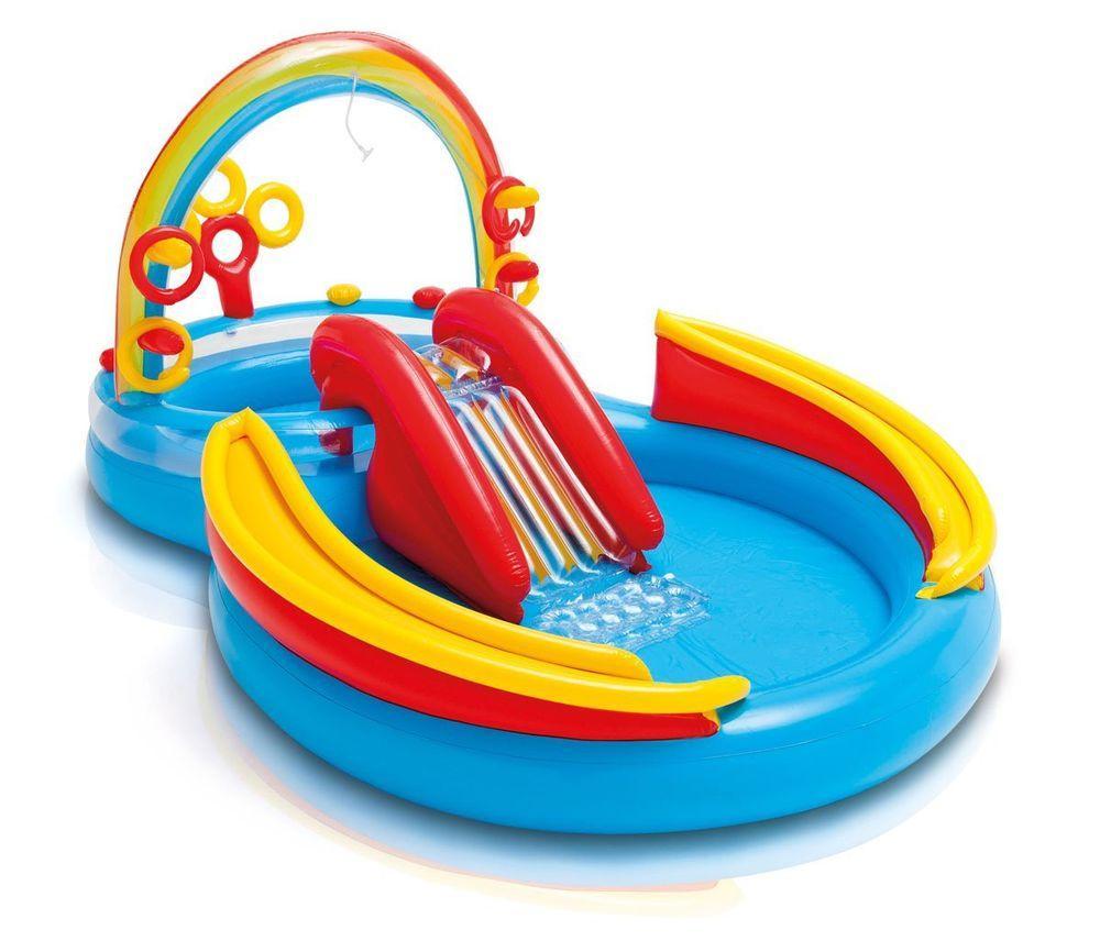 """Детский игровой надувной центр """" Радуга """" с надувными кольцами, фонтаном  и горкой ."""