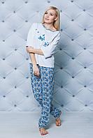 Пижама со штанами женская Цветы