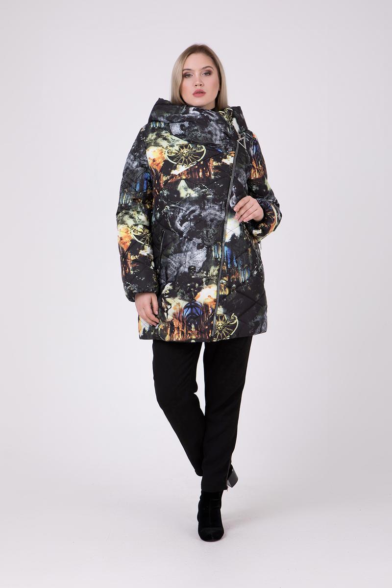 4557c3b144df Женская зимняя удлиненная куртка с принтом 706 / размер 68
