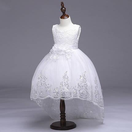 Нарядное платье для девочки с шлейфоми пайетками белое, фото 2