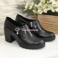 Туфли женские на устойчивом каблуке, декорированы ремешком, фото 1