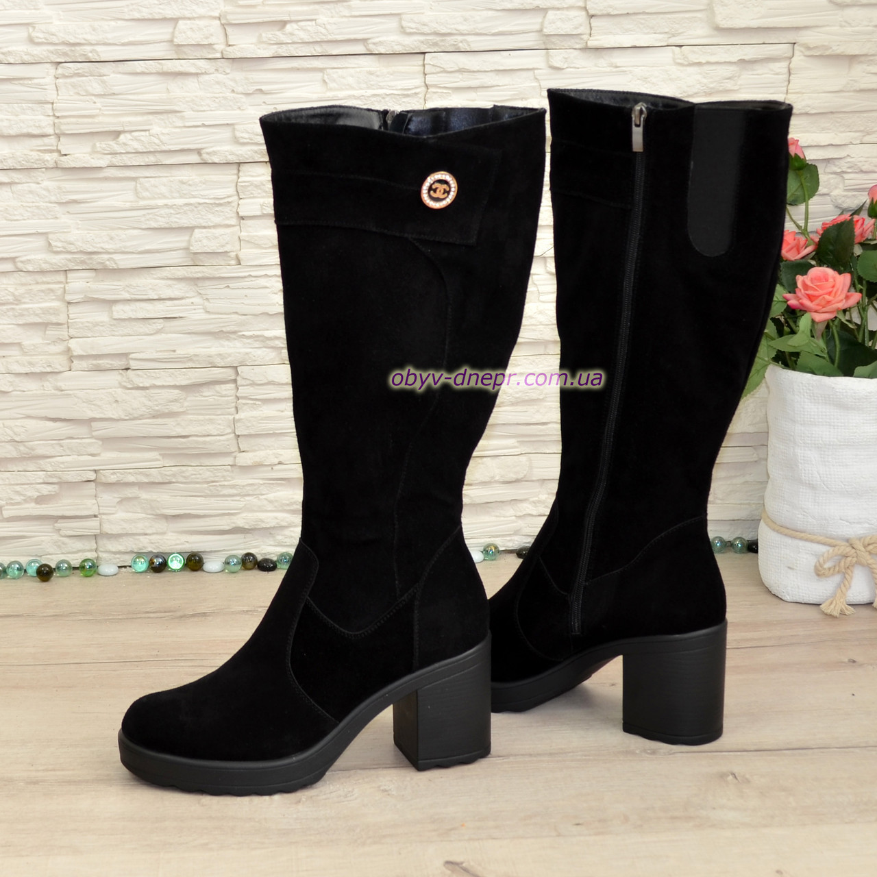 Батал!, фото 2 Сапоги женские черные замшевые на устойчивом каблуке. a92321b3e74