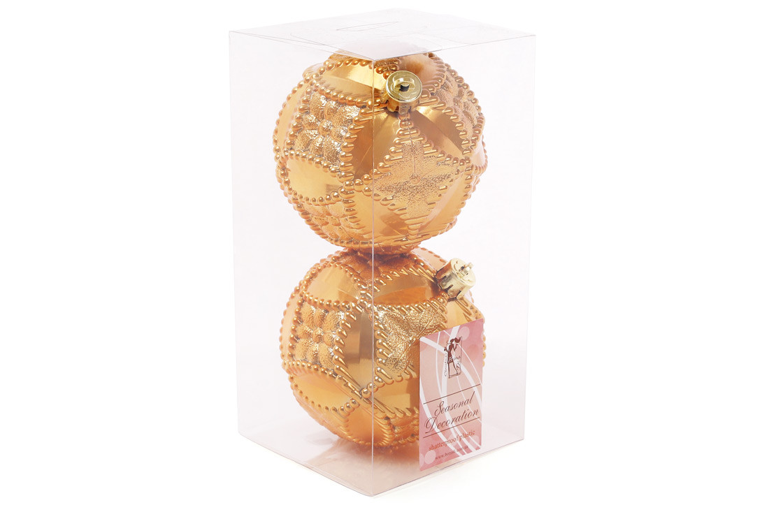 Набор елочных шаров с рельефом 10см, цвет - охра, 2 шт: перламутр BonaDi 147-430