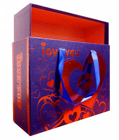 9040089 Комплект из 3-х коробок с ручками из ленточек Синяя