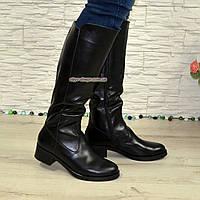 Женские классические кожаные сапоги на невысоком каблуке. Батал!, фото 1
