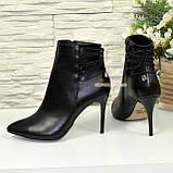 Ботинки кожаные женские демисезонные на шпильке, фото 3