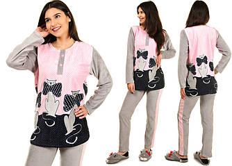 Женская велюровая пижама с котиками размеры S M L Велюр на хлопковой основе