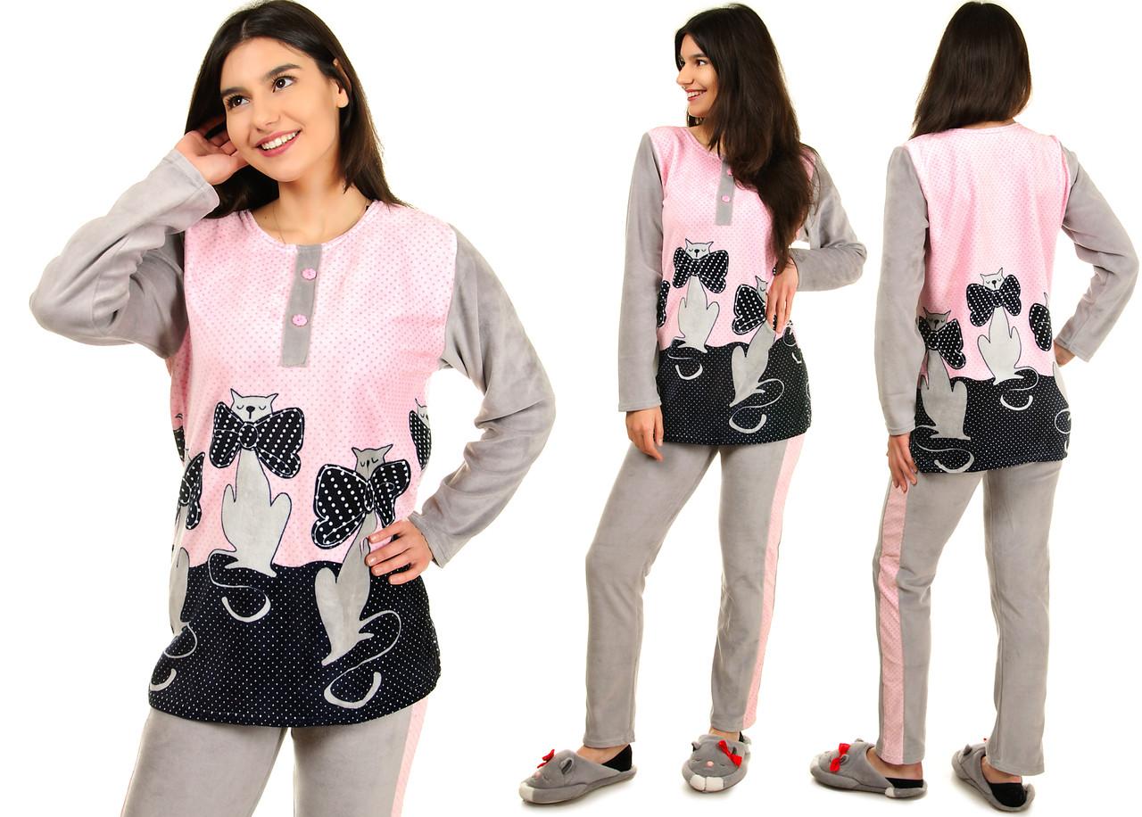 Жіноча велюрова піжама з котиками розмір  L Велюр на бавовняній основі