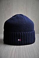 Шапка мужская зимняя на флисе т.синяя под бренд, фото 1