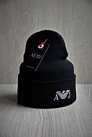 Мужская шапка двойная стильная с вышивкой LV черная, фото 1