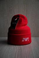 Мужская шапка двойная стильная с вышивкой LV красная, фото 1