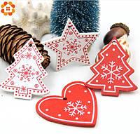 Набор новогодних игрушек на елку из дерева Праздничный 10 шт + шнуровки