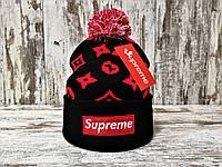 Мужская стильная шапка с помпоном Supreme черная с красным