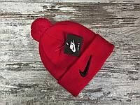 Мужская стильная шапка двойная Найк красная