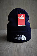 Мужская шапка с отворотом стильная темно синяя, фото 1