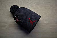 Мужская шапка с отворотом и помпоном зимняя Jordan серая