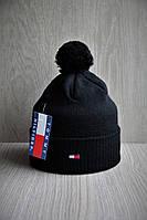 Шапка мужская зимняя с отворотом и помпоном черная, фото 1