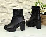 Ботинки  женские кожаные демисезонные на высоком каблуке, декорированы ремешком, фото 4