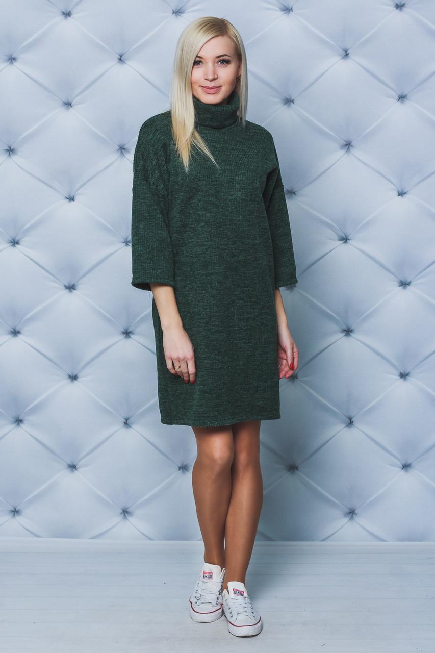 Платье женское под горло зеленое