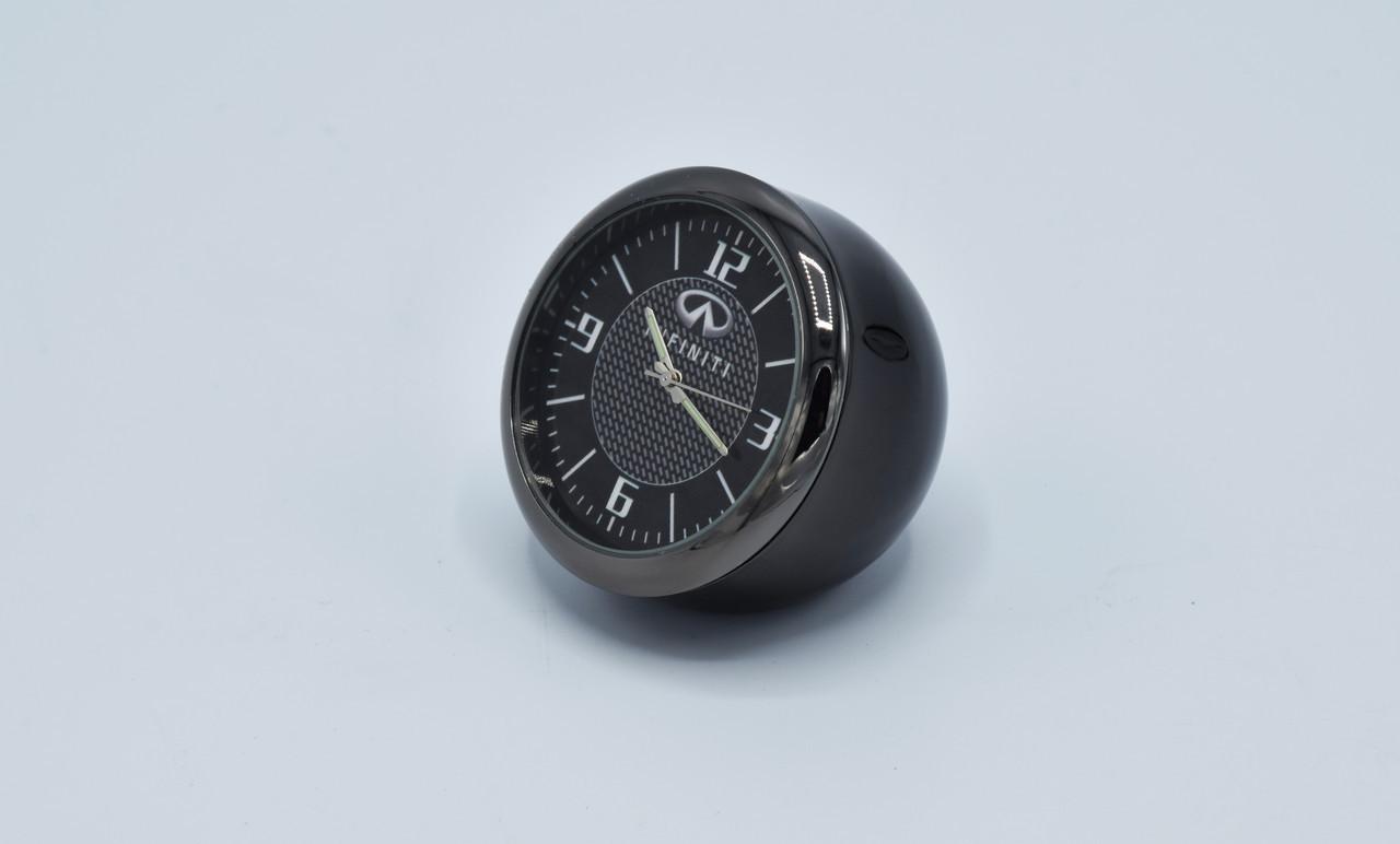 Часы в автомобиль Vehicle clock Infinity, хром/круглые автомобильные часы с маркой авто в Инфинити подарок