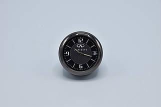 Часы в автомобиль Vehicle clock Infinity, хром/круглые автомобильные часы с маркой авто в Инфинити подарок , фото 2