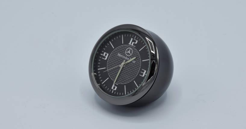 Часы в автомобиль Vehicle clock Mercedes, хром/круглые автомобильные часы с маркой авто в Мерседес подарок , фото 2