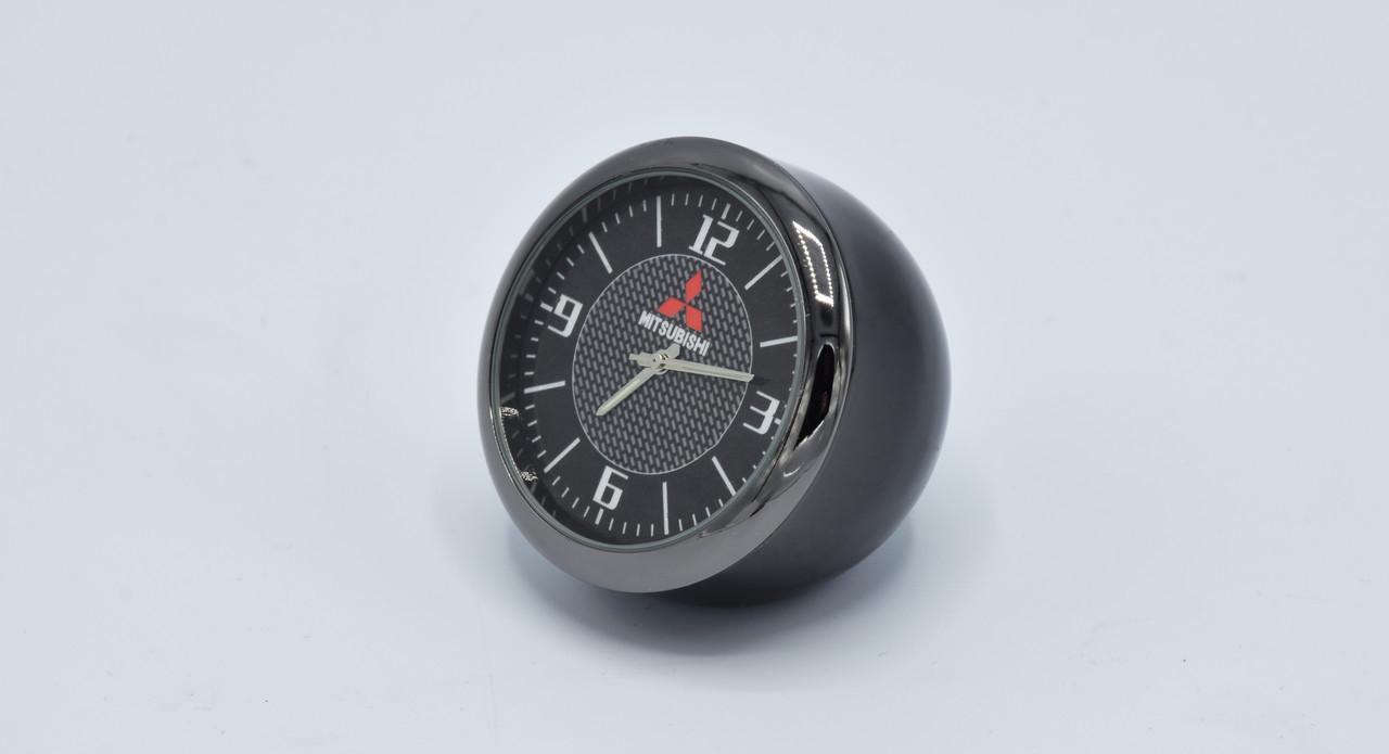 Часы в автомобиль Vehicle clock Mitsubishi, хром/круглые автомобильные часы с маркой авто в Мицубиси подарок