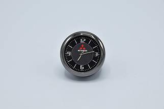 Часы в автомобиль Vehicle clock Mitsubishi, хром/круглые автомобильные часы с маркой авто в Мицубиси подарок , фото 2