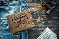 Мужской кожаный кошелек ТатуНаКоже, канабис, фото 1
