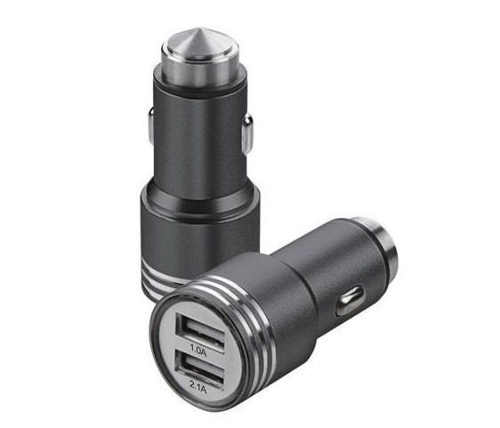 Автомобильное зарядное устройство (адаптер в прикуриватель, АЗУ) 2 USB-выхода Hammer YZS-A-01 черный