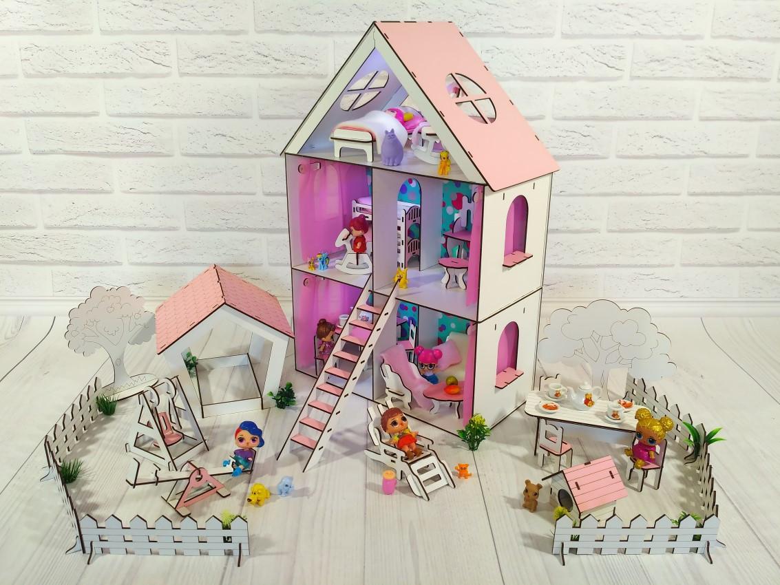 Кукольный Домик для Lol Little Fun maxi + обои + мебель + текстиль + дворик