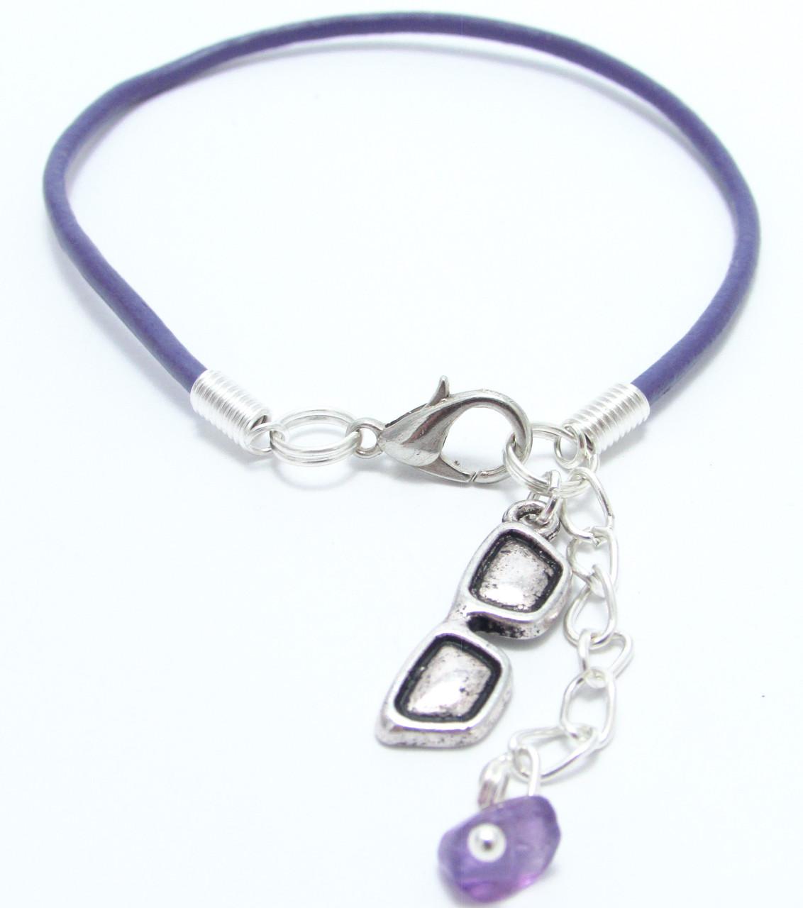 Браслет Violet Line кожаный на запястье с чароитом