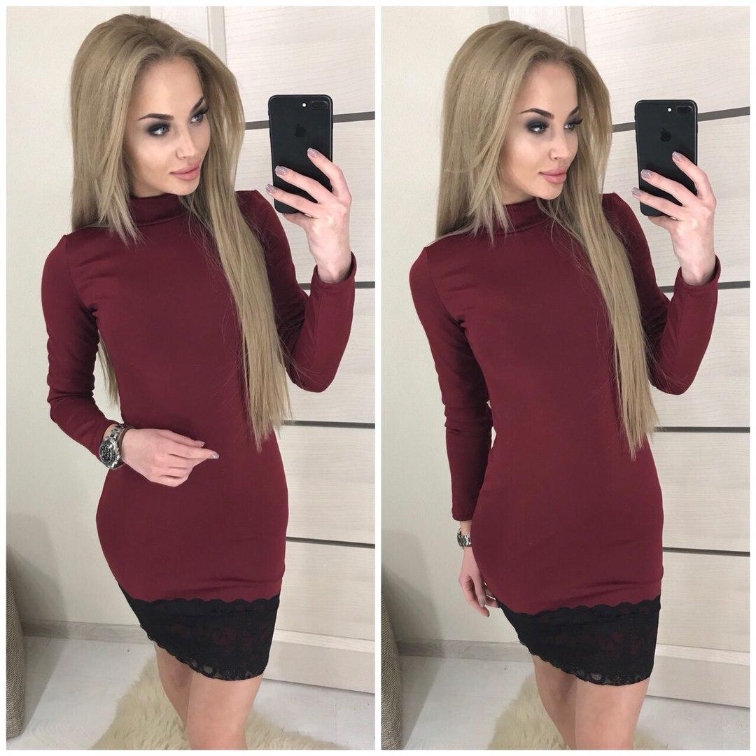 Демисезонное платье с кружевом