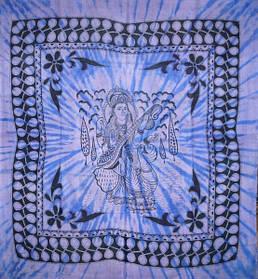 9040066 Покрывало 100% Хлопок Боги однотонное Сарасвати Синее