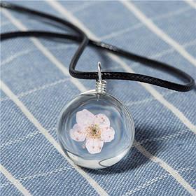 9080038 Кулон шарик розовый цветочек