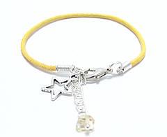Браслет Yellow Line кожаный на запястье с цитрином