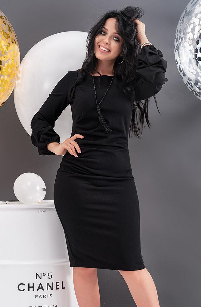 8af04c0138a4fe8 Вечернее платье-футляр черного цвета. Модель 19791. Размеры 48-54 - Irse
