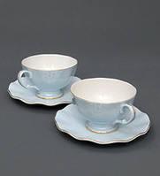 Чайный набор на 2 персоны Грациозо Блю из костяного фарфора AS-36