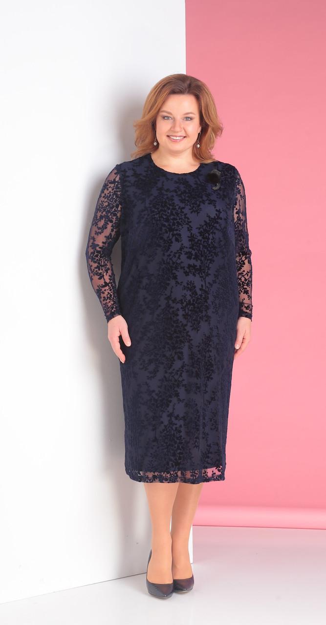 Платье Novella Sharm-3143-c белорусский трикотаж, темно-синий с брошью, 58
