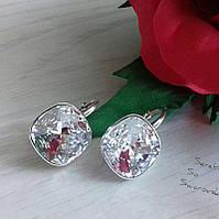 Серьги из серебра с кристаллами Сваровски ювелирной бриллиантовой огранки