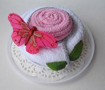"""Полотенце-тортик """"Дикая роза розовая"""""""